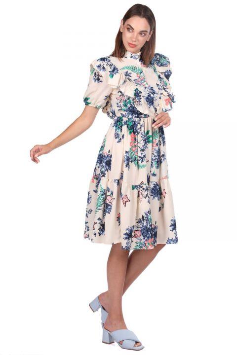 Short Sleeve Flower Patterned Cream Dress