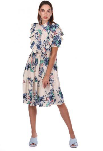 Кремовое платье с короткими рукавами и цветочным узором - Thumbnail