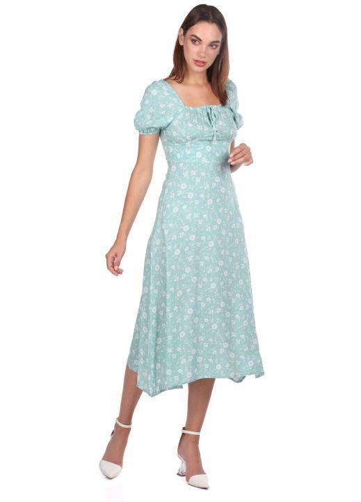 كم قصير فستان أخضر مائي أبيض منقوش
