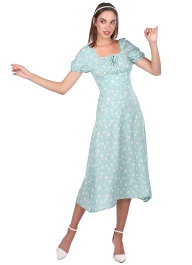 كم قصير فستان أخضر مائي أبيض منقوش - Thumbnail