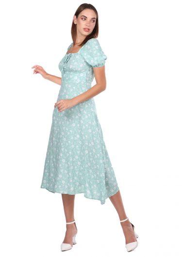 MARKAPIA WOMAN - Белое платье с короткими рукавами и водно-зеленым рисунком (1)