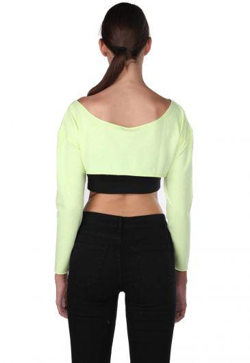 Укороченная блуза Markapia с отделкой на плечах - Thumbnail
