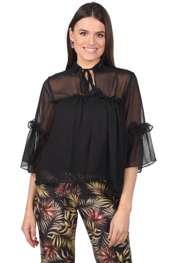 MARKAPIA WOMAN - Chiffon Gathered Blouse (1)