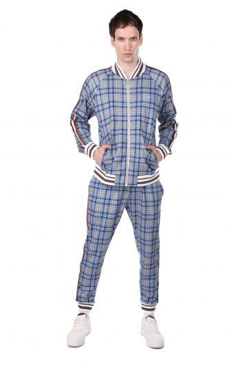 Мужские спортивные брюки в синюю клетку в полоску по бокам - Thumbnail