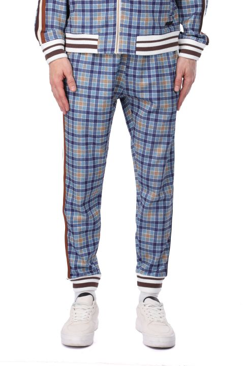 Side Striped Blue Plaid Men's Sweatpants