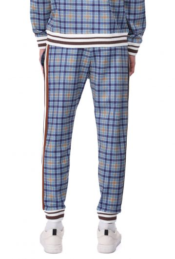 Side Striped Blue Plaid Men's Sweatpants - Thumbnail