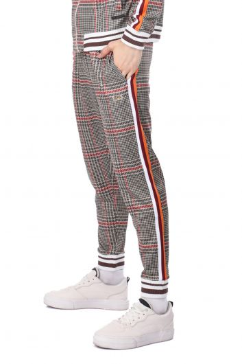 Men's Checkered Trousers With Side Stripes - Thumbnail