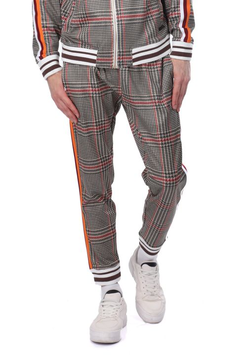 Men's Checkered Trousers With Side Stripes