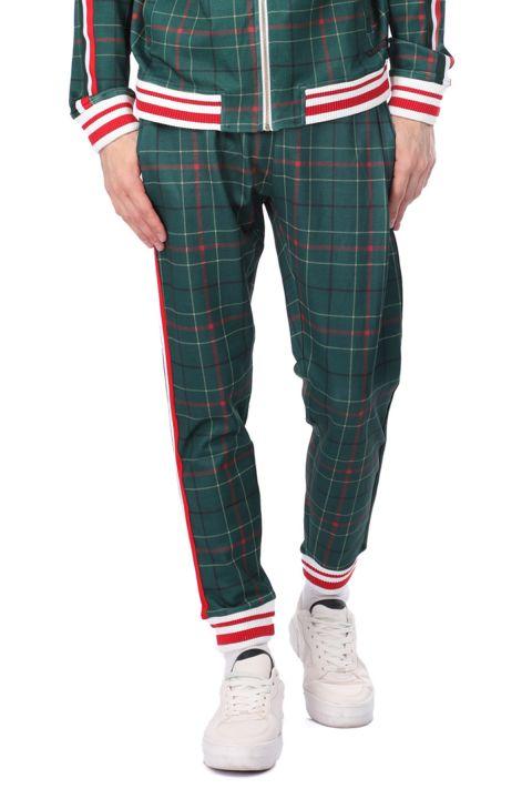 Мужские спортивные штаны в эластичную клетку в полоску по бокам