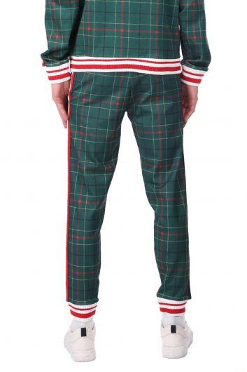 Мужские спортивные штаны в эластичную клетку в полоску по бокам - Thumbnail