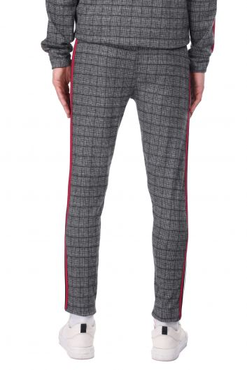 Side Stripe Plaid Men's Sweatpants - Thumbnail