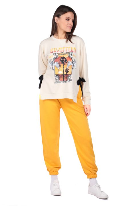 Tie Side Printed Ecru Women's Sweatshirt