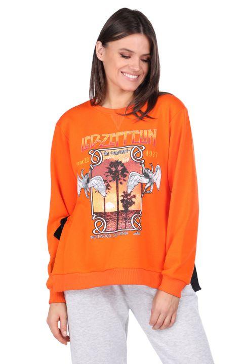 Side Tie Printed Orange Women's Sweatshirt