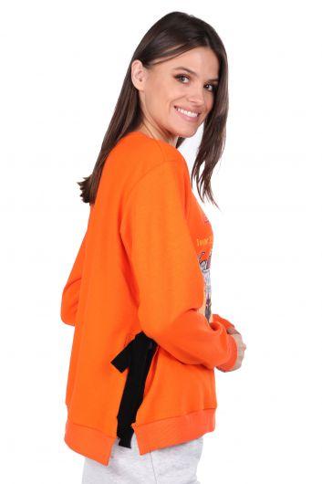 Side Tie Printed Orange Women's Sweatshirt - Thumbnail