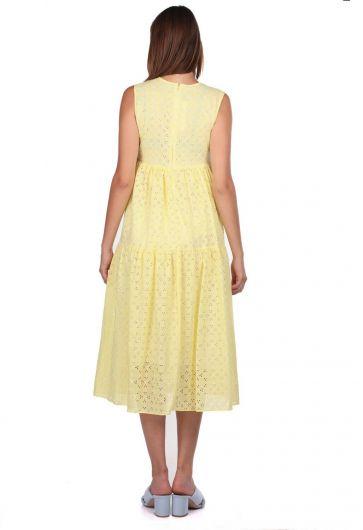 Sarı Fisto Desenli Sıfır Kol Elbise - Thumbnail