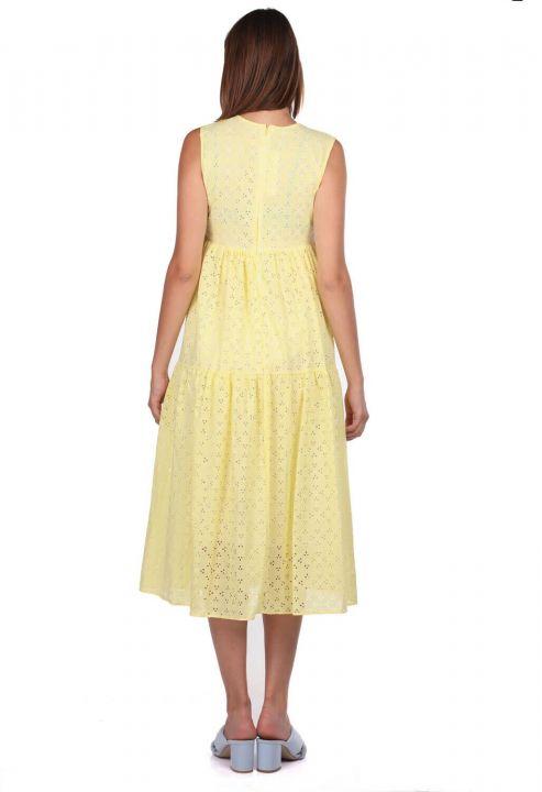 Sarı Fisto Desenli Sıfır Kol Elbise