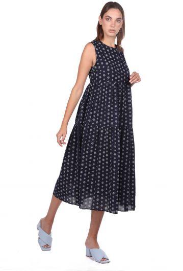 Markapia Sıfır Kol Desenli Elbise - Thumbnail