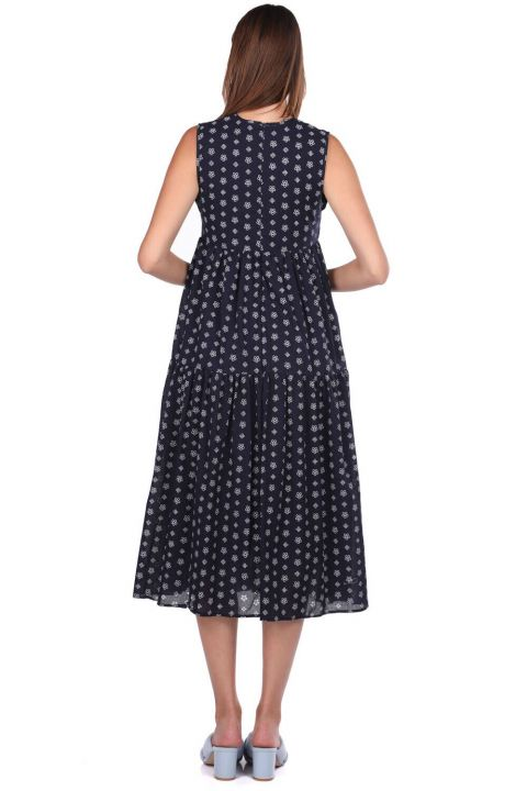 Markapia Sıfır Kol Desenli Elbise