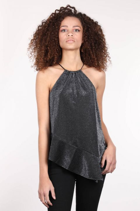 Серебристая женская блузка асимметричного кроя с вырезом через шею