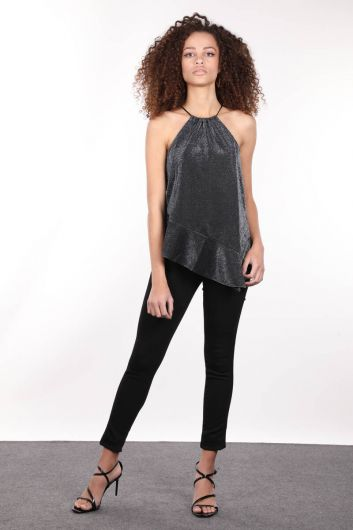 MARKAPİA WOMAN - Серебристая женская блузка асимметричного кроя с вырезом через шею (1)