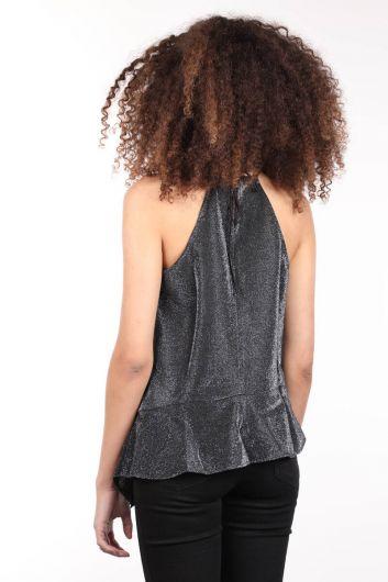 Серебристая женская блузка асимметричного кроя с вырезом через шею - Thumbnail