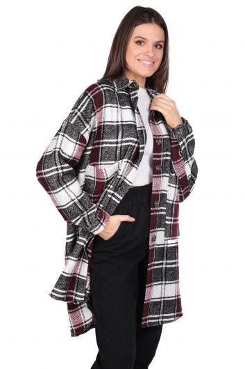 MARKAPIA WOMAN - Silvery Oversize Plaid Women's Jacket (1)