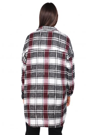 Silvery Oversize Plaid Women's Jacket - Thumbnail