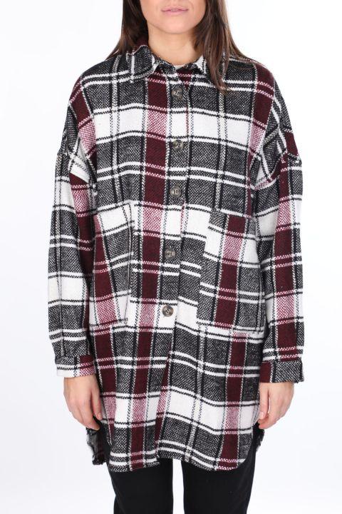Silvery Oversize Plaid Women's Jacket