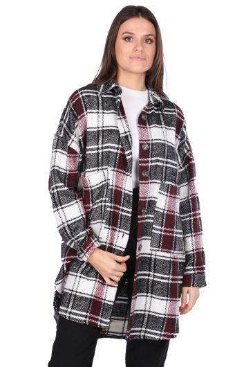 Серебряная женская куртка оверсайз в клетку - Thumbnail