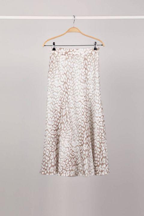 Серебристая женская юбка из шести частей с молнией сбоку