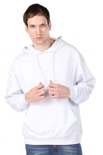Sırtı Kuru Kafa Baskılı Kapüşonlu Erkek Sweatshirt - Thumbnail