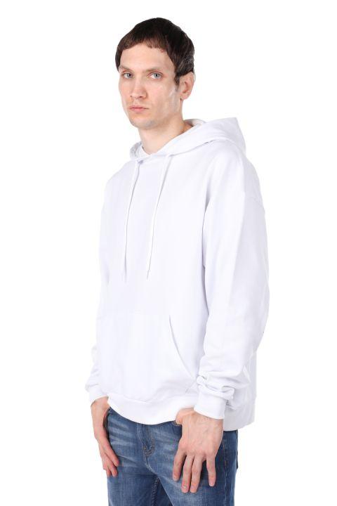 Sırtı Kuru Kafa Baskılı Kapüşonlu Erkek Sweatshirt