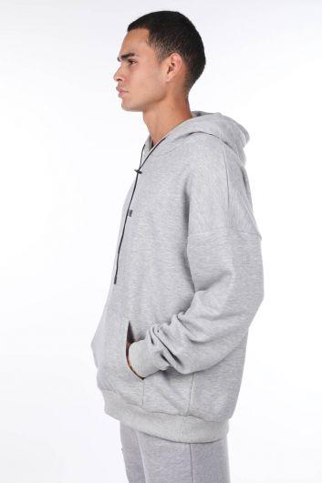 MARKAPIA MAN - Sırtı Resim Parçalı Kapüşonlu Erkek Sweatshirt (1)