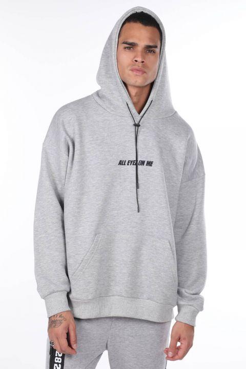 Sırtı Resim Parçalı Kapüşonlu Erkek Sweatshirt