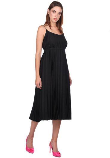 MARKAPIA WOMAN - Siyah Askılı Akordiyon Düz Elbise (1)