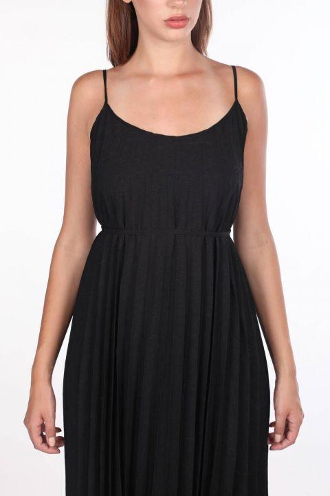 Siyah Askılı Akordiyon Düz Elbise