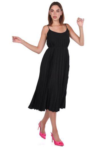 Siyah Askılı Akordiyon Düz Elbise - Thumbnail