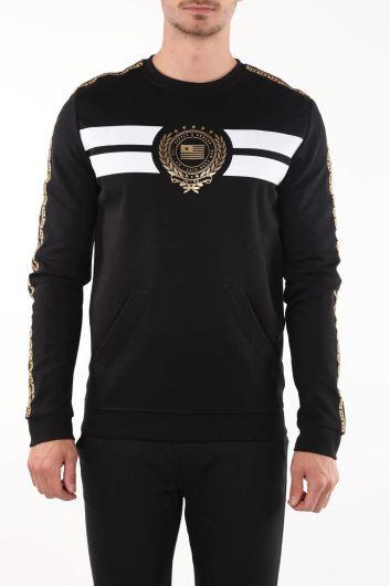 MARKAPIA - Черный свитшот с круглым вырезом с принтом (1)