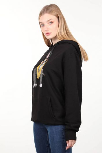 MARKAPIA WOMAN - Black Printed Hooded Oversized Sweatshirt (1)