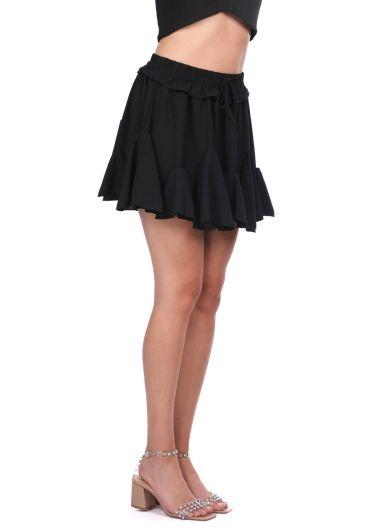 MARKAPIA WOMAN - Siyah Bel Lastikli Volanlı Mini Etek (1)