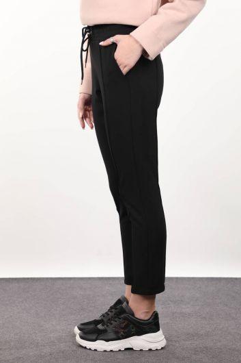 MARKAPIA WOMAN - Siyah Belden Bağlamalı Kadın Pantolon (1)