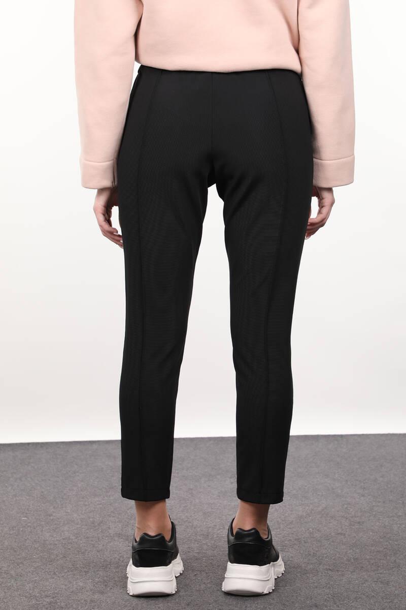 Siyah Belden Bağlamalı Kadın Pantolon
