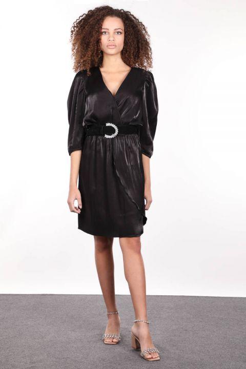 Siyah Beli Lastik Büzgülü Kruvaze Kadın Elbise