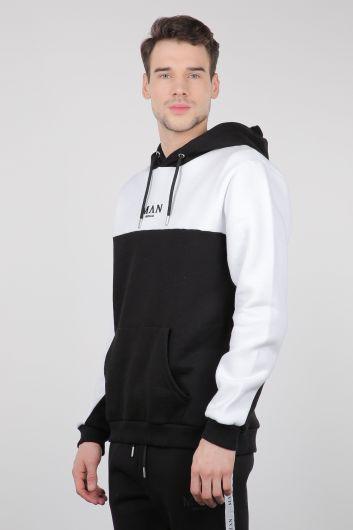 Siyah Beyaz Şardonlu Kapüşonlu Erkek Sweatshirt - Thumbnail