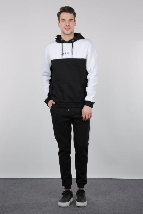 Siyah Beyaz Şardonlu Kapüşonlu Erkek Sweatshirt