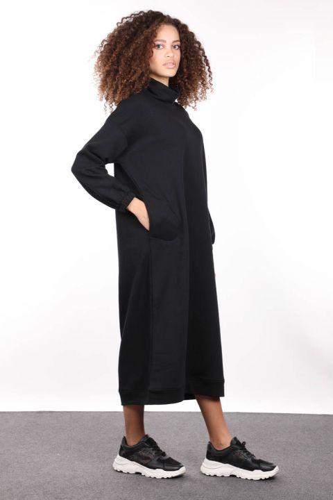 Siyah Boğazlı Basic Kadın Sweat Elbise