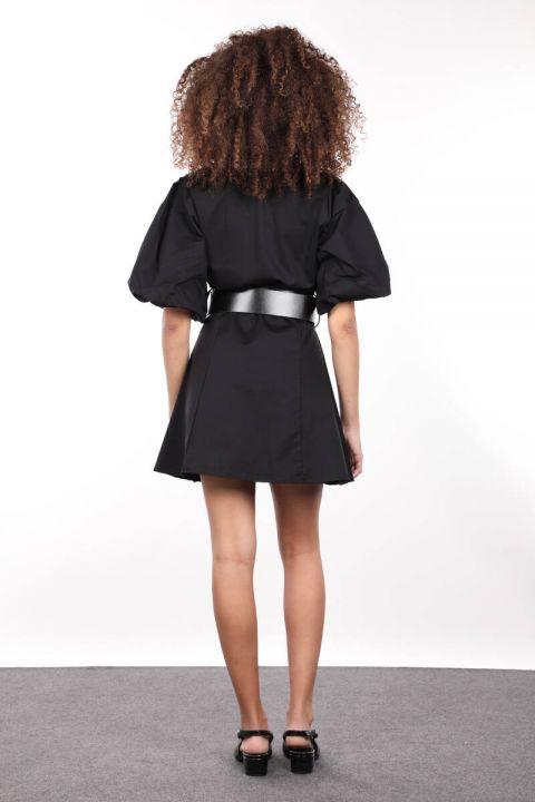 Siyah Düğmeli Balon Kol Kadın Elbise