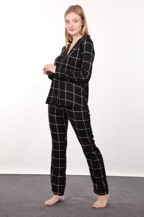 Siyah Ekose Kadın Pijama Takımı