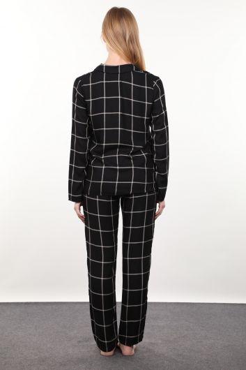 Siyah Ekose Kadın Pijama Takımı - Thumbnail