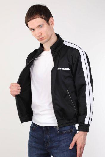 MARKAPIA - Siyah Fermuarlı Şeritli Erkek Koşucu Sweatshirt (1)